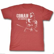 New Authentic Mens Conan The Barbarian Retro T Shirt in Red Size S-2XL Arnold