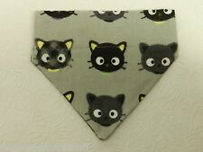 DOG CAT FERRET REVERSIBLE Over Collar Bandana~Black Kitty Adorable character!