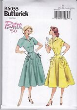 Retro 1950 Butterick Sewing Pattern Misses' Dress & Belt   Sizes 8 - 22 B6055