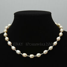 s245 AA 9-10mm pink natural fresh water cultured akoya oval pearl Necklace a