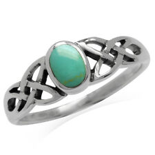 Green Turquoise Inlay 925 Sterling Silver Celtic Knot Ring