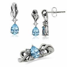 Natural Blue & White Topaz 925 Sterling Silver Ribbon Pendant, Earrings or Ring