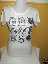 NEW WITH TAG G BY GUESS WHITE TEE TOP WITH LOGO LQQK
