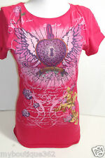 GUESS PINK TEE TOP CREW NECK PRINTED GUESS LOGO ON THE FRONT NEW WITH TAG