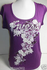 GUESS PURPLE TEE TOP CREW NECK WITH FLORAL  DESIGN NEW NWT