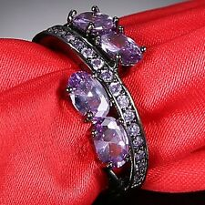 Jewelry Women Purple Amethyst Crystal Black Gold Filled Wedding Ring Size 7 8 9