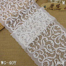White Flower Lace Fabric Embroidery Stretch Trim Sewing Tulle 1yd/5yd L2983