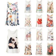 New Womens Lady Printed Sleeveless T Shirt Fitted Blouse Vest Tank Top 20 Colors
