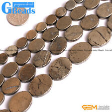 Natural Grey Pyrite Gemstone Oval Flat Beads For Jewelry Making Free Shipping GB