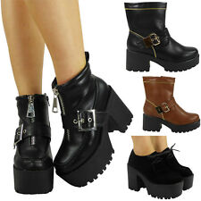 LADIES WOMENS PLATFORM CHUNKY HIGH HEEL GOTH LACE UP ZIP ANKLE BOOTS SHOES SIZE