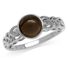 Smoky Quartz Gold Plated 925 Sterling Silver Celtic Knot Solitaire Ring