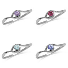 Amethyst,Rhodolite,Topaz,Tanzanite White Gold Plated 925 Sterling Silver Ring