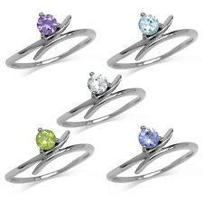 Topaz, Amethyst, Peridot, Tanzanite 925 Sterling Silver White Gold Plated Ring