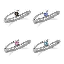 Tanzanite,Tourmaline,Aquamarine,Topaz 925 Sterling Silver Solitaire Promise Ring