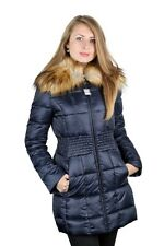 LAUNDRY BY SHELLI SEGAL Woman's Blue Down Gathered Waist Puffer Coat Fur 719