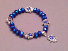 HAMSA PROTECTION Bracelet EVIL EYE Faceted Bead Silver Accent VARIOUS COLORS