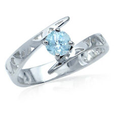Genuine Blue Topaz 925 Sterling Silver Filigree Solitaire Ring