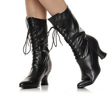 """1031 253-AMELIA Women's 2.5"""" Chunky Heel Victorian Lace Up Mid Calf Boots"""