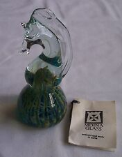 "Mdina Signed Art Glass Seahorse Paperweight 5.75"" Blue/Green"