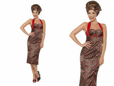 Rockabilly Costume, Cherry Print Ladies Rocking 1950s Fancy Dress S-L