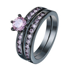 Gorgeous Pink Sapphire Stone Womens Black Gold Wedding Engagement Band Ring Set