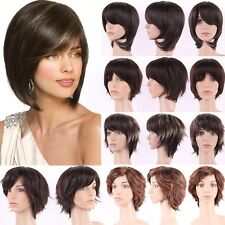 Hight-end Synthetic Wigs Short Brown Blonde Heat Resistant Curly Wave Full Wig H
