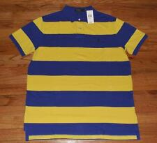 NEW NWT Mens Polo Ralph Lauren Custom Fit Polo Shirt Pony Logo Blue Striped *1A