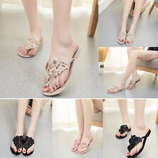 Women Female Jelly color Flower Flat Plastic Beach Shoes Casual Sandals Slipper