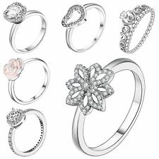 Genuine Fine Crystals 925 Silver Wedding Engagement Ring Size 6-9 Jewelry Gift
