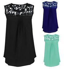 Women Summer Hollow Lace Splice Chiffon Vest Top Sleeveless Blouse Tank Tops New