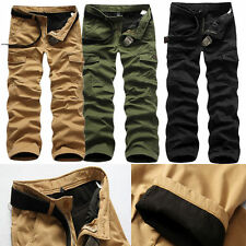 Fashion Men Cotton Combat Fleece Lined Cargo Pant Army Work Trousers Winter Pant