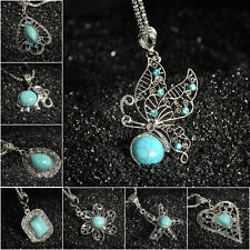 New Vintage Tibetan Silver Turquoise Bib Crystal Pendant Fashion Chain Necklace