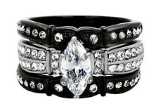 Womens Marquise Wedding Set Rings Stainless Steel Bridal Engagement Ring SZ 5-11