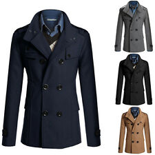 Mens Casual Coat  Peacoat Solid  Winter Slim Fit Double Breasted  Trench Jacket