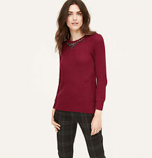 Ann Taylor Loft 3/4 Sleeve Jeweled Studded Ribbed Sweater NWT