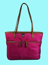 MICHAEL KORS KEMPTON MD Pocket Fuchsia Nylon/Brown Leather Tote Bag Msrp $118