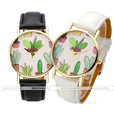 Lovely Cute Potted Cactus Wrist Watch Leather Strap Quartz Watch Fashion Jewelry