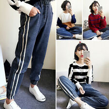Retro Korean Womens Casual Sport Pants Boyfriend Feet Slim Loose Harem Trousers