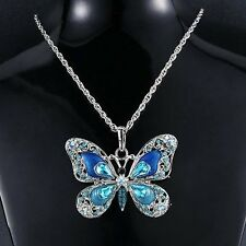 Colorful Silver Butterfly Crystal Choker Pendant Necklace Sweater Chains GIFT