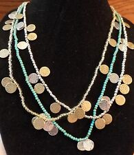 Lucky Brand Beaded Necklace with Disc Charms - Turquoise, Gold or Silver NWT $39