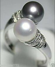 Noblest 18K GP 8mm Real White Black South Sea Shell Pearl Ring Size 7 8 9