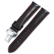 18-22mm Genuine Calf Leather Wristband Watch Strap Steel Deployant For Longines