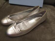 PRADA Metallic Silver Leather Cap Toe Ballet Ballerina Flat Shoes with Bow $550