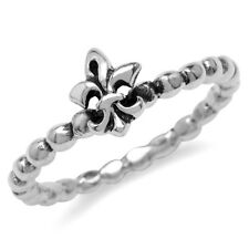 925 Sterling Silver Bead Ball Fleur De Lis Stack/Stackable Ring