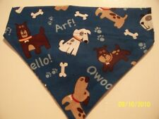Over Collar REVERSIBLE Bandana~Dog Bones Paw Print ARF!