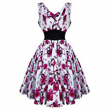 Hearts and Roses London Pink White Floral 50s Vintage Tea Party Dress UK
