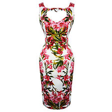 Hearts & Roses London Pink Chic Floral Vintage Retro 1950s Fitted Pencil Dress U