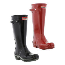 Hunter Original Kids Gloss Wellington Boots Shiny Black Wellies Size UK 13-4