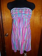 Victoria's Secret Rainbow Ruffled Bandeau Strapless Dress Cover Up S Sundress