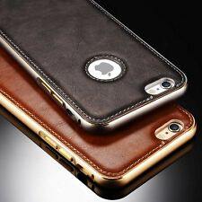 New Luxury Leather Aluminum Frame Back Cover Case For Apple iPhone 5/5S/6/6 Plus